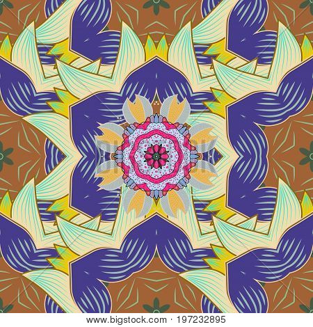 Abstract Mandala. Islam Arabic Indian turkish pakistan chinese ottoman motifs. Oriental colored pattern on colorful background. Vector illustration. Vintage decorative elements.