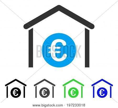 Euro Storage Garage flat vector pictogram. Colored euro storage garage gray, black, blue, green icon versions. Flat icon style for application design.