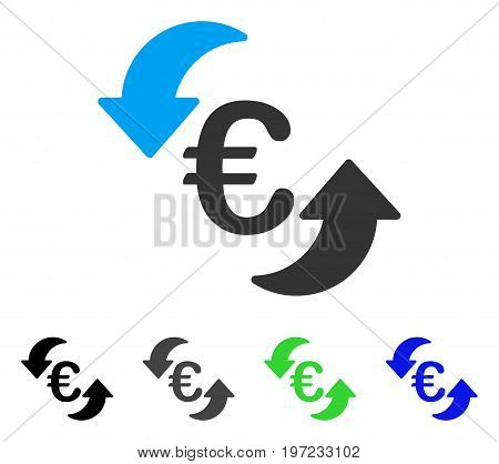 Euro Update Arrows flat vector pictograph. Colored euro update arrows gray, black, blue, green icon variants. Flat icon style for graphic design.