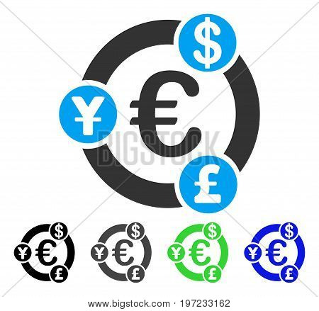 International Financial Collaboration flat vector pictograph. Colored international financial collaboration gray, black, blue, green pictogram versions. Flat icon style for application design.