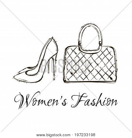 Hand Drawn Graphic Women Items And Accessories - Bag And Shoes. Big Vector Fashion Illustration Acce