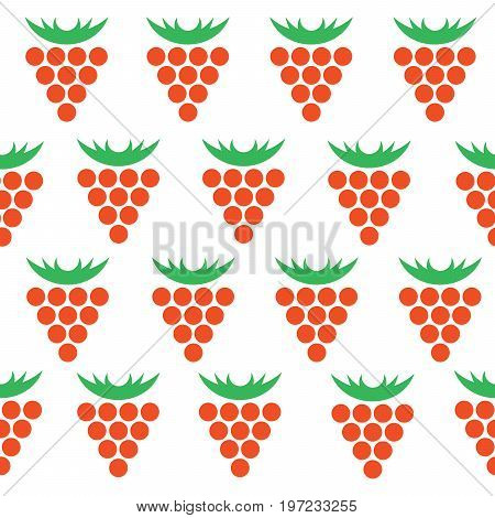 Geometric flat seamless pattern with cloudberry. Nordic berry on white background. Vector nature floral ornament for textile designfabric.