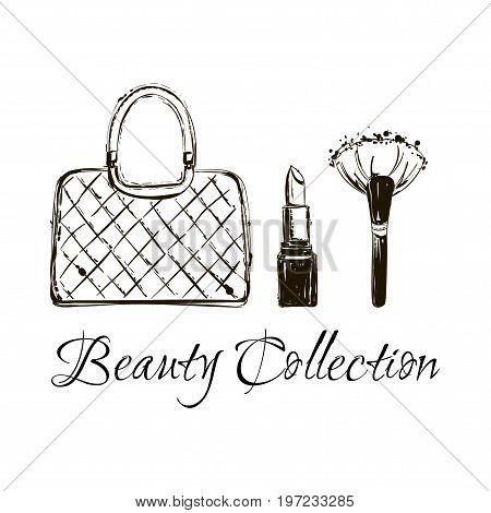 Fashion Sketch Set. Hand Drawn Graphic Bag, Makeup Brush, Lipstick, Eye Glasses. Women Accessories,