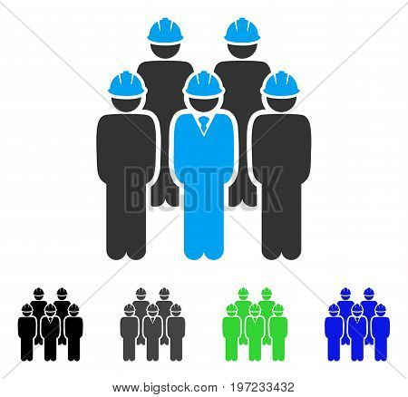 Developer Staff flat vector illustration. Colored developer staff gray, black, blue, green icon variants. Flat icon style for graphic design.