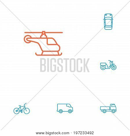 Collection Of Truck, Moped, Top And Other Elements.  Set Of 6 Shipping Outline Icons Set.