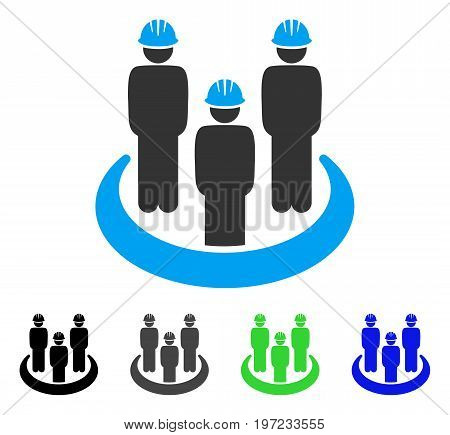 Engineer Community flat vector pictograph. Colored engineer community gray, black, blue, green pictogram versions. Flat icon style for web design.