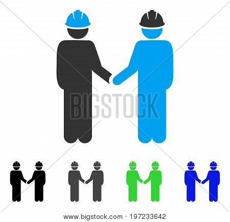 Engineer Persons Handshake flat vector pictogram. Colored engineer persons handshake gray, black, blue, green icon variants. Flat icon style for graphic design.
