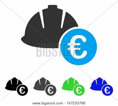 Engineering Helmet And Euro flat vector icon. Colored engineering helmet and euro gray, black, blue, green icon versions. Flat icon style for web design.