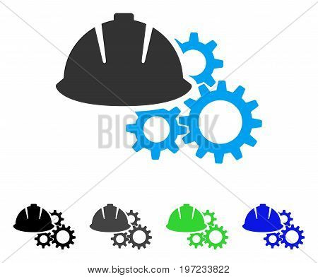 Engineering Helmet And Gears flat vector pictogram. Colored engineering helmet and gears gray, black, blue, green icon variants. Flat icon style for graphic design.