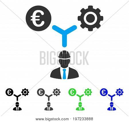 Euro Development Relations flat vector icon. Colored euro development relations gray, black, blue, green pictogram variants. Flat icon style for graphic design.