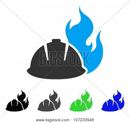 Fire Protection Helmet flat vector icon. Colored fire protection helmet gray, black, blue, green icon versions. Flat icon style for web design.