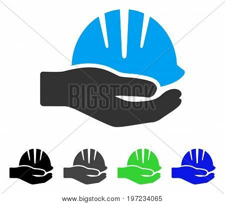 Hand With Helmet flat vector pictograph. Colored hand with helmet gray, black, blue, green pictogram versions. Flat icon style for application design.