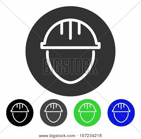 Helmet Circle flat vector pictograph. Colored helmet circle gray, black, blue, green icon variants. Flat icon style for web design.