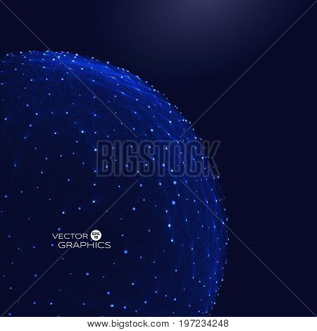 3 d object like sphere in macro or micro space with connection lines and glowing particles. Abstract vector illustration for technical design.