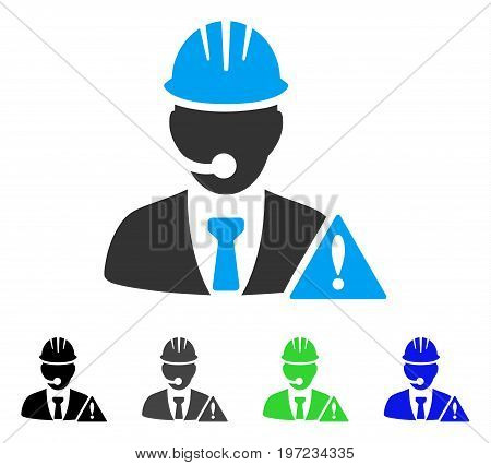 Industrial Emergency Operator flat vector pictograph. Colored industrial emergency operator gray, black, blue, green pictogram versions. Flat icon style for graphic design.