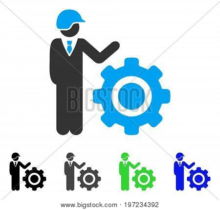 Industrial Gear Engineer flat vector pictogram. Colored industrial gear engineer gray, black, blue, green icon versions. Flat icon style for graphic design.