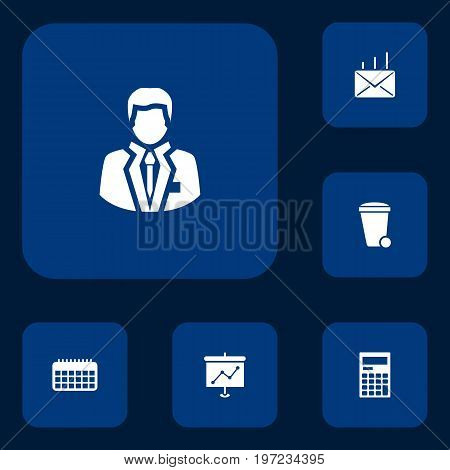 Collection Of Calculator, Manager, Trash Can And Other Elements.  Set Of 6 Bureau Icons Set.