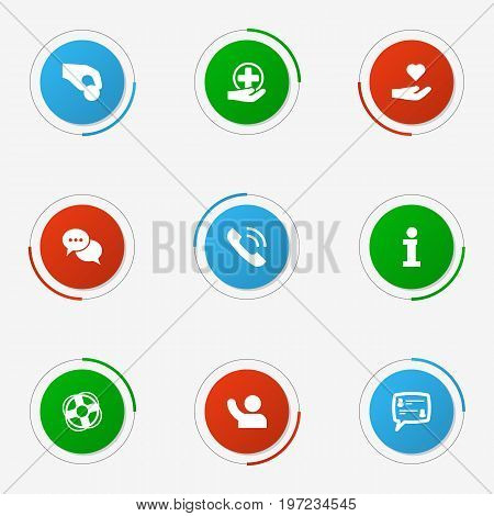Collection Of First-Aid, Talk, Undertake And Other Elements.  Set Of 9 Maintenance Icons Set.