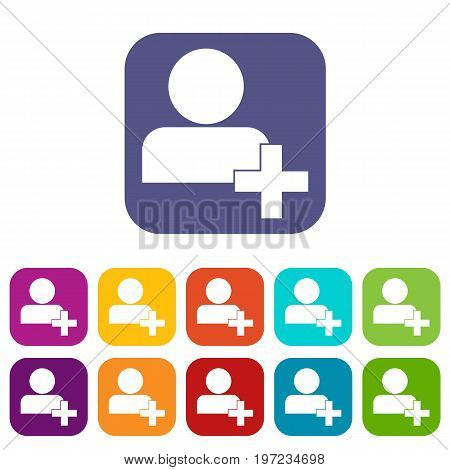Add new user account or add new friend in simple style isolated on white background vector illustration