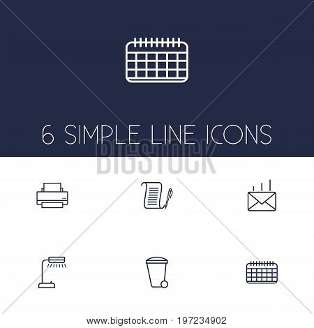 Collection Of Recycle Bin, Agreement, Post And Other Elements.  Set Of 6 Bureau Outline Icons Set.