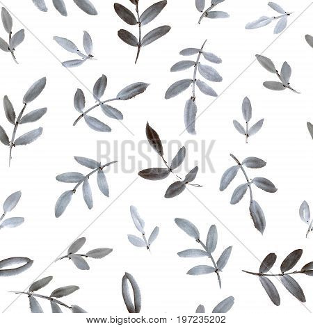 Watercolor and ink illustration of tree with leaves. Sumi-e u-sin painting. Seamless pattern.