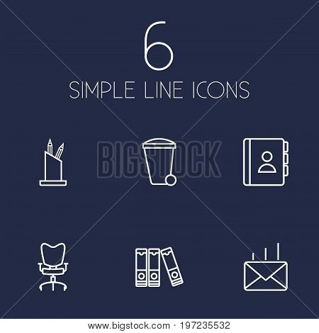 Collection Of Telephone Directory, Pen Storage, Post And Other Elements.  Set Of 6 Bureau Outline Icons Set.