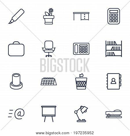 Collection Of Telephone, Staple, Wastebasket And Other Elements.  Set Of 16 Workspace Outline Icons Set.