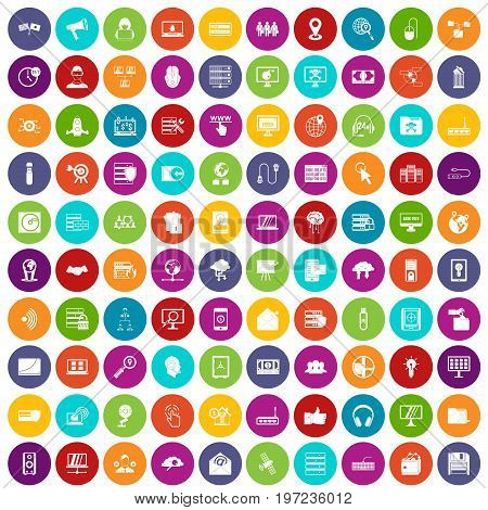 100 cyber security icons set in different colors circle isolated vector illustration