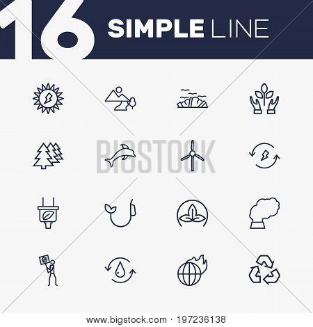Collection Of Afforestation, Recycling, Eco And Other Elements.  Set Of 16 Ecology Outline Icons Set.