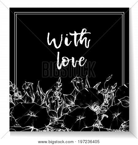 Retro vintage postcard, card or business card with flower bindweed. Hand drawing. Vector illustration.