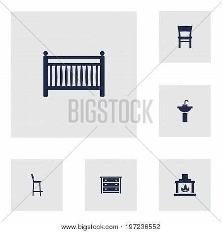 Collection Of Chimney, Cot, Stool And Other Elements.  Set Of 6 Decor Icons Set.