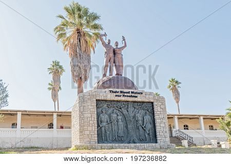 WINDHOEK NAMIBIA - JUNE 17 2017: The Genocide Memorial in front of the Alte Feste in Windhoek the capital city of Namibia