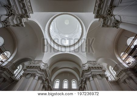 SAINT PETERSBURG/ RUSSIA - JULY 1, 2017. Interior of the Smolny Cathedral (built 1746 - 1835). St. Petersburg, Russia.