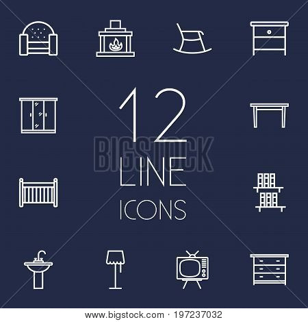 Collection Of Closet, Table, Drawer Unit And Other Elements.  Set Of 12 Set Outline Icons Set.