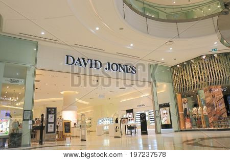 BRISBANE AUSTRALIA - JULY 9, 2017: Unidentified people visit David Jones on Queen Street in Brisbane. David Jones was founded in 1838 and is a high-end Australian department store chain.