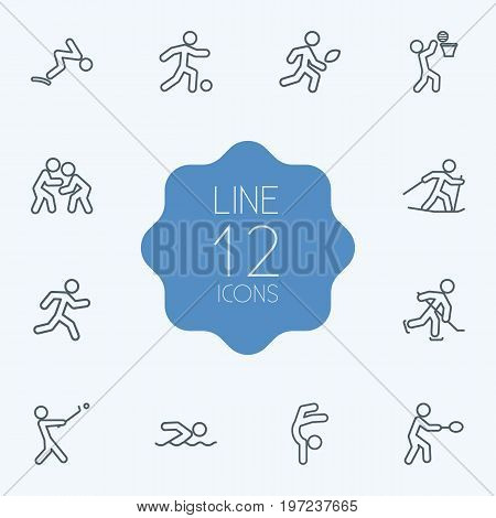 Collection Of Stick, Gymnastic, Diving And Other Elements.  Set Of 12 Fitness Outline Icons Set.