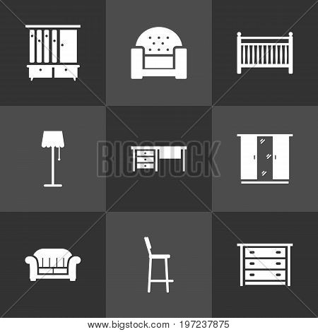 Collection Of Chair, Cupboard, Sofa And Other Elements.  Set Of 9 Decor Icons Set.