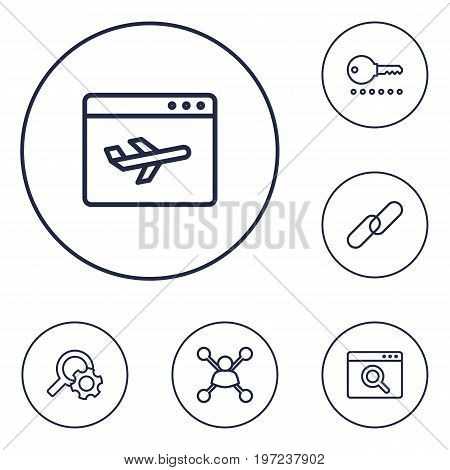 Collection Of Search, Stock Exchange, Landing Page Elements.  Set Of 6 Engine Outline Icons Set.