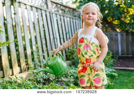 Portrait of little girl watering green plants on backyard on summer day. Child with watering pot in garden. Lifestyle family activity. Kids responsibility for doing home errand chores.
