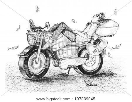 Biker life style cartoon drawing is freedom he sleeping on bike In the spring Have fallen leaves. The air with cool breeze Hand drawing black and white isolate.