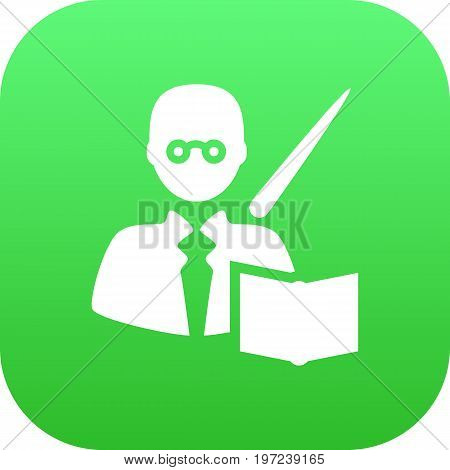 Vector Leaner  Element In Trendy Style.  Isolated Teacher Icon Symbol On Clean Background.