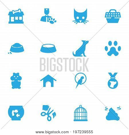 Collection Of Dog, Pet Crate, Bird And Other Elements.  Set Of 16 Mammal Icons Set.