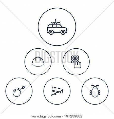 Collection Of Virus, Siren, Dynamite And Other Elements.  Set Of 6 Safety Outline Icons Set.