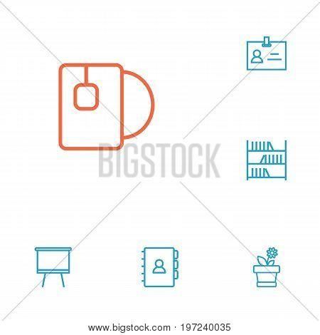 Collection Of Badge Id, Board Stand, Bookshelf Elements.  Set Of 6 Workspace Outline Icons Set.