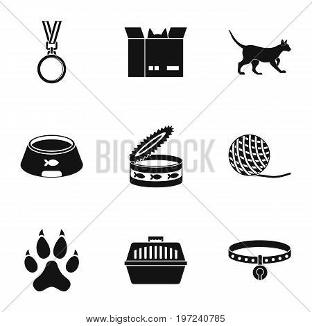 Cat house icons set. Simple set of 9 cat house vector icons for web isolated on white background