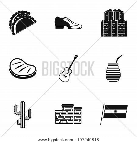 Buenos Aires travel icons set. Simple set of 9 Buenos Aires travel vector icons for web isolated on white background