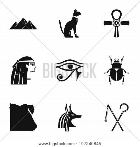 Egyptian pyramids icons set. Simple set of 9 Egyptian pyramids vector icons for web isolated on white background