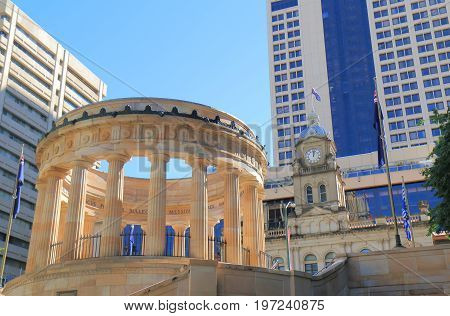 BRISBANE AUSTRALIA - JULY 9, 2017: Anzac war memorial Brisbane Australia.