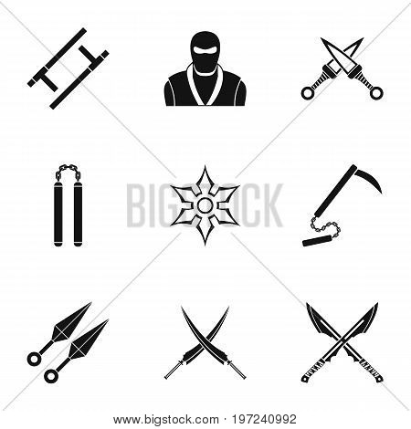 Japanese weapons icons set. Simple set of 9 Japanese weapons vector icons for web isolated on white background