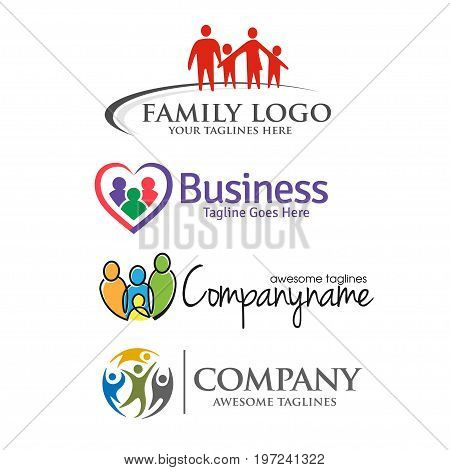 family care and love logo set,modern and elegant concept of family care and love logo set